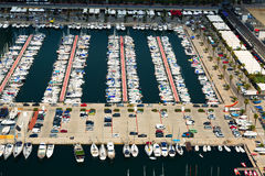 Aerial view of yachts at Port Olimpic. Barcelona Stock Photos