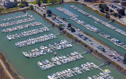 Aerial view of yachts. Yachts and sailboats parked in a yacht club as seen from above Stock Photo