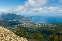 Aerial view of Yalta city from Ai-Petri mountain in Crimea royalty free stock photography