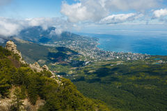 Aerial view of Yalta city from Ai-Petri mountain in Crimea stock images