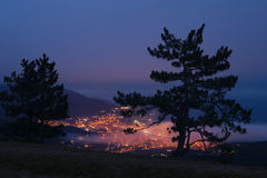 Aerial view of Yalta city at night Stock Images