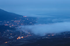Aerial view of Yalta city before sunrise Stock Photography