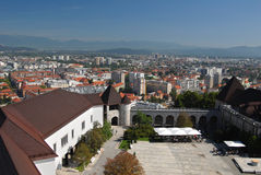 Aerial view on a yard of the castle in city ljubljana Stock Image