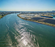 Aerial view of Yarra River and West Gate Bridge at high noon. Me. Lbourne, Victoria, Australia Stock Images