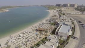 Aerial view of Yas Island beach, Abu Dhabi Stock Photo