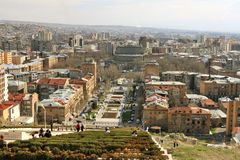 Aerial view of Yerevan center with Cascade alley, France square and Opera theatre from the upper level of Cascade monument Royalty Free Stock Photography