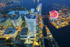 Aerial view of Yokohama city at dusk Stock Photo
