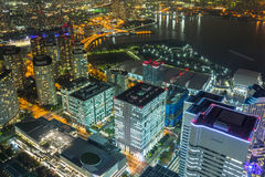 Aerial view of Yokohama city at night Royalty Free Stock Images