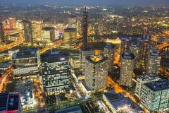 Aerial view of Yokohama city at night Royalty Free Stock Photography