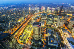 Aerial view of Yokohama city at night Stock Photos