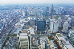 Aerial view of Yokohama at dusk Stock Images