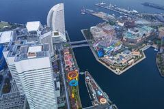 Aerial view of Yokohama at dusk Stock Photography