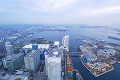 Aerial view of Yokohama at dusk Royalty Free Stock Photography