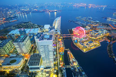 Aerial view of Yokohama at dusk Royalty Free Stock Images