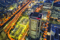 Aerial view of Yokohama at night Stock Image