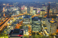 Aerial view of Yokohama at night Stock Images