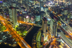 Aerial view of Yokohama at night Royalty Free Stock Image
