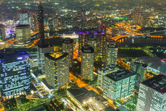 Aerial view of Yokohama at night Royalty Free Stock Photos