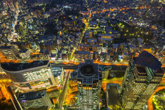 Aerial view of Yokohama at night Royalty Free Stock Photography