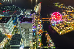 Aerial view of Yokohama at night Stock Photo
