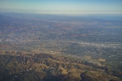 Aerial view of Yorba Linda, view from window seat in an airplane. At California, U.S.A stock photography
