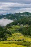 Aerial view of Yotsuya No Semmaida village and rice fields Royalty Free Stock Images