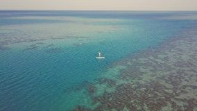Aerial view of young girl stand up paddling on vacation. Tracking shot of a young woman SUP boarding stock video footage