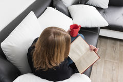 Aerial view of young woman reading a book Royalty Free Stock Image