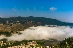 Aerial view of Yuanyang county in Honghe Prefecture in southeastern Yunnan province, China royalty free stock photos