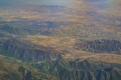 Aerial view of Yucaipa, Cherry Valley, Calimesa, view from windo. W seat in an airplane at California, U.S.A Stock Photography