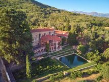 Aerial view of the Yuste monastery located in Extremadura Spain. Place where Emperor Charles V of Germany and I of Spain died stock image