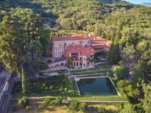 Aerial view of the Yuste monastery located in Extremadura Spain. Place where Emperor Charles V of Germany and I of Spain died stock photos