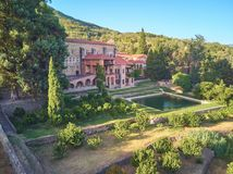 Aerial view of the Yuste monastery located in Extremadura Spain. Place where Emperor Charles V of Germany and I of Spain died stock images