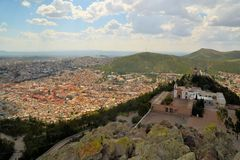 Aerial view of Zacatecas, colorful colonial town Royalty Free Stock Image