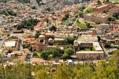 Aerial view of Zacatecas, colorful colonial town Stock Photos
