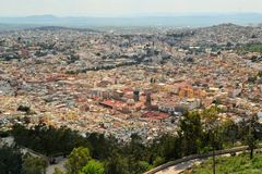 Aerial view of Zacatecas, colorful colonial town Royalty Free Stock Photography
