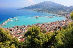 Aerial view of Zakynthos city. Zakynthos or Zante island, Ionian Sea, Greece. Zakynthos or Zante is a city and a former municipality on the island of Zakynthos stock images