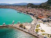 Aerial  view of Zakynthos city in  Zante island, in Greece. Aerial view of Zakynthos city in Zante island in Greece Stock Photo