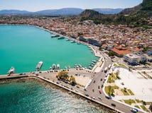 Aerial  view of Zakynthos city in  Zante island, in Greece. Aerial view of Zakynthos city in Zante island in Greece Stock Photo