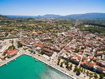 Aerial  view of Zakynthos city in  Zante island, in Greece. Aerial view of Zakynthos city in Zante island in Greece Royalty Free Stock Images