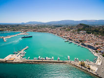 Aerial  view of Zakynthos city in  Zante island, in Greece Stock Photography