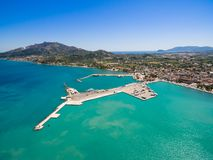 Aerial  view of Zakynthos city in  Zante island, in Greece Royalty Free Stock Photography