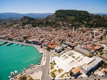 Aerial  view of Zakynthos city in  Zante island, in Greece. Aerial view of Zakynthos city in Zante island in Greece Stock Photography