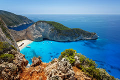 Aerial view on Zakynthos Greece - shipwreck navagio beach. Navagio beach with shipwreck on Zakynthos island in Greece Royalty Free Stock Image