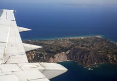 Aerial View of Zakynthos. Zakynthos island, Greece - view from an airpalne Royalty Free Stock Image