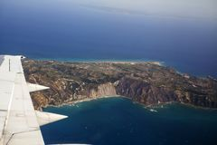 Aerial View of Zakynthos. Zakynthos island, Greece - view from an airpalne Stock Photography