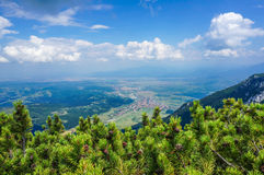 Aerial view of Zarnesti town, Romania Stock Images