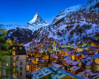 Aerial View on Zermatt Valley and Matterhorn Peak at Dawn royalty free stock photo