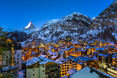 Aerial View on Zermatt Valley and Matterhorn Peak at Dawn stock images