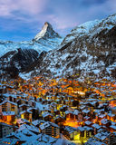 Aerial View on Zermatt Valley and Matterhorn Peak at Dawn Stock Image